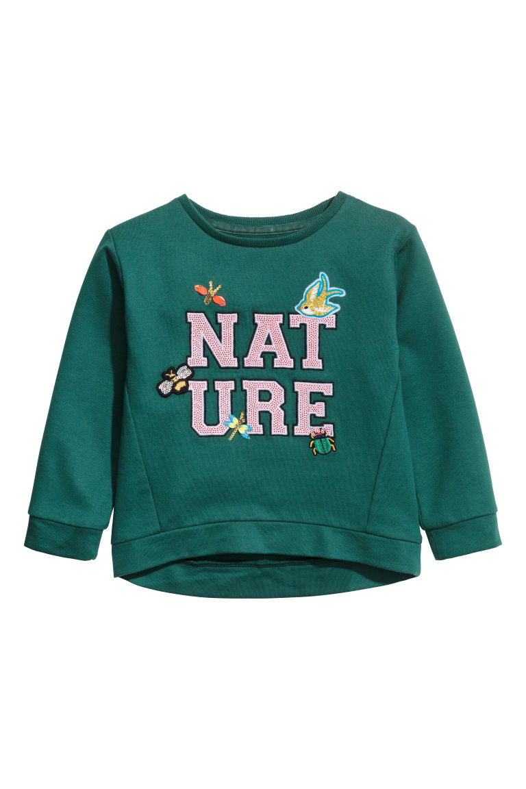 Sweatshirt with sequins - Dark green - Kids | H&M