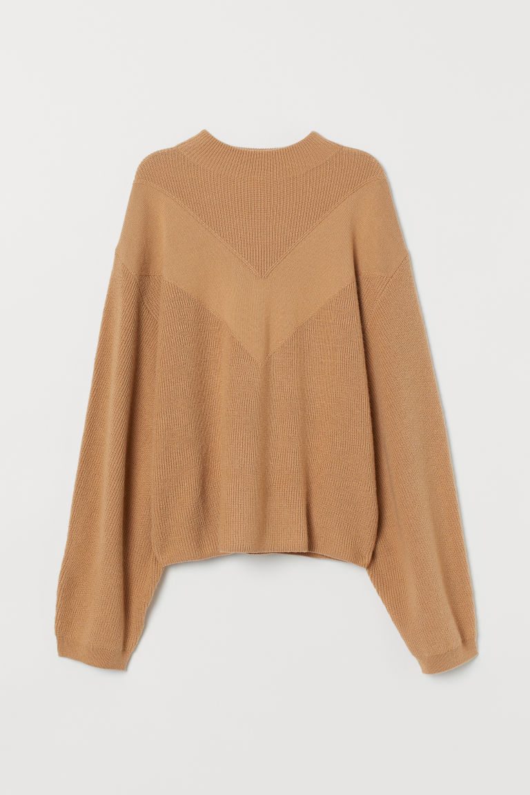 Knitted, dolman-sleeve jumper - Camel - Ladies | H&M GB