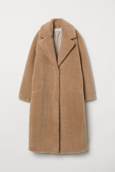 Long Pile Coat - Dark beige - Ladies | H&M US