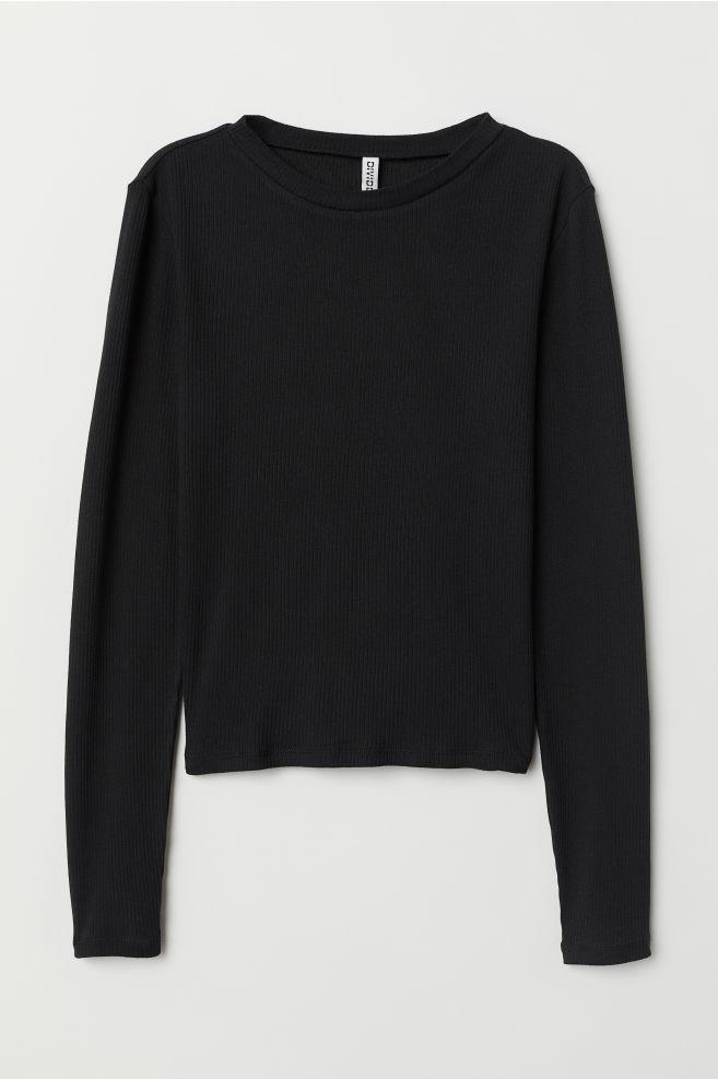 5299e6172ca4bf Ribbed Top - Black - | H&M ...