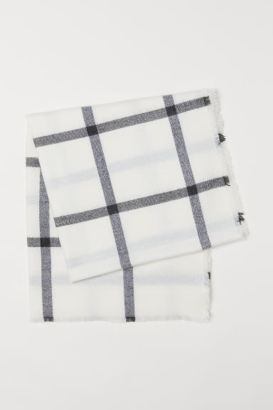 Checked scarf - White/Checked - Ladies | H&M
