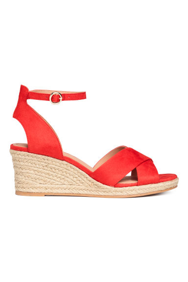 Wedge-heel sandals - Red -  | H&M