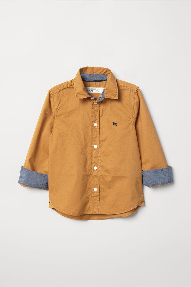 51e9494e0c3e0a Cotton Shirt - Mustard yellow - Kids