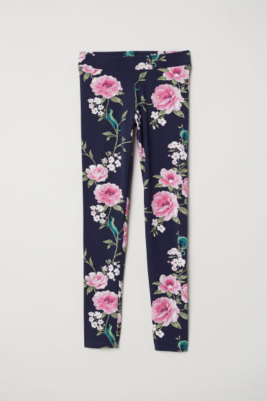 Printed jersey leggings - Dark blue/Floral - Kids | H&M