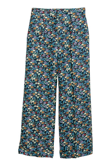 Wide trousers - Dark blue/Floral -  | H&M GB