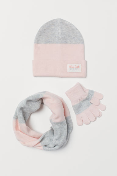 3-piece set - Pink/Grey marl - Kids | H&M