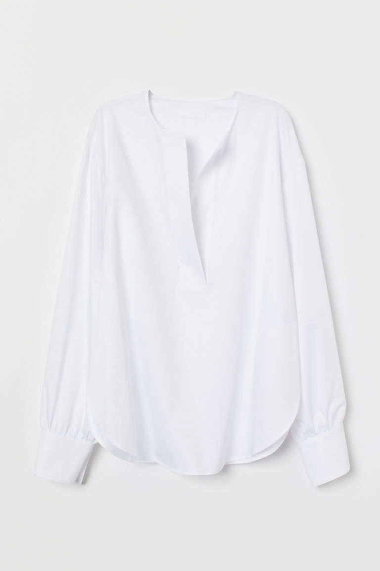 Pima cotton tunic - White - Ladies | H&M CN