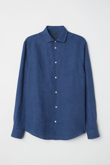 Linen shirt Slim Fit - Dark blue - Men | H&M