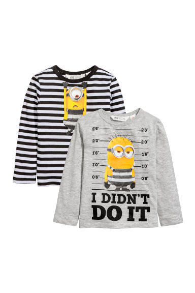 2-pack jersey tops - Grey/Minion - Kids | H&M