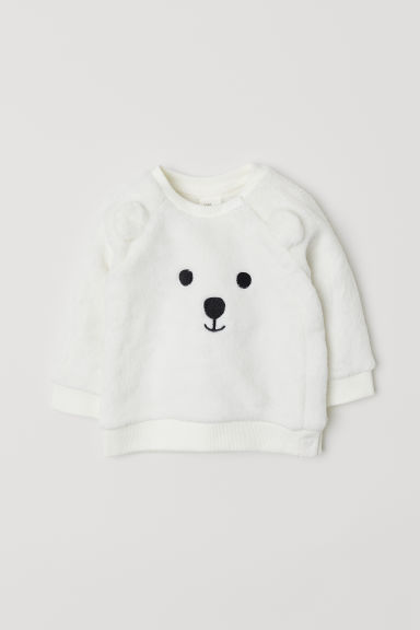 Velour sweatshirt - Natural white/Polar bear - Kids | H&M