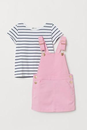 Dungaree dress and top