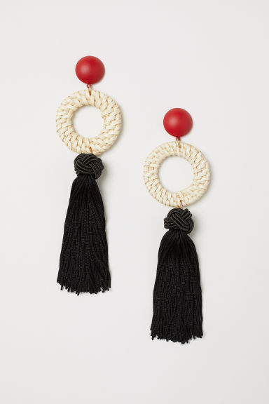 Tasselled earrings - Black/Red - Ladies | H&M GB