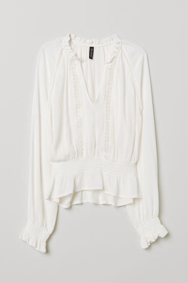 Blouse with lace details - White -  | H&M