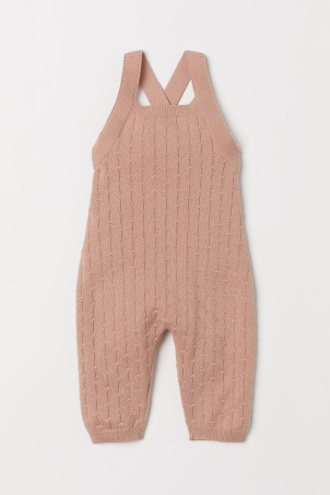 Pattern-knit dungarees