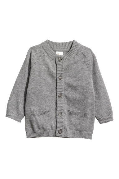 Fine-knit cotton cardigan - Grey marl - Kids | H&M