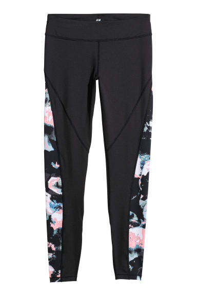 Sports tights - Black/Patterned -  | H&M