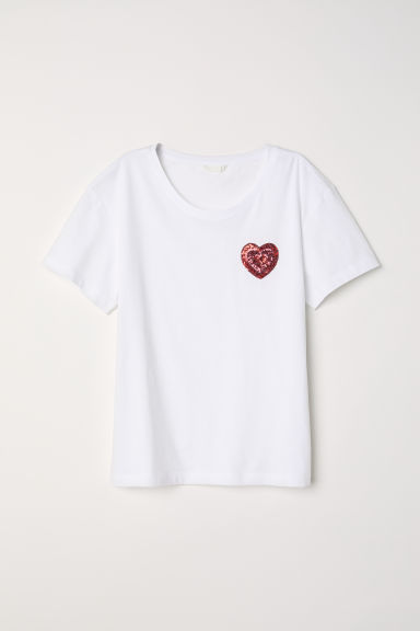 Top with a motif - White/Heart -  | H&M CN