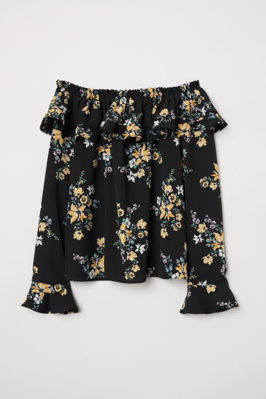 Off-the-shoulder blouse - Black/Floral -  | H&M