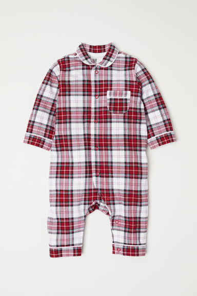 Checked all-in-one pyjamas - Red/White checked -  | H&M
