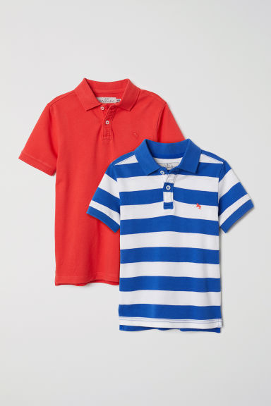 2-pack polo shirts - Light red/Striped -  | H&M