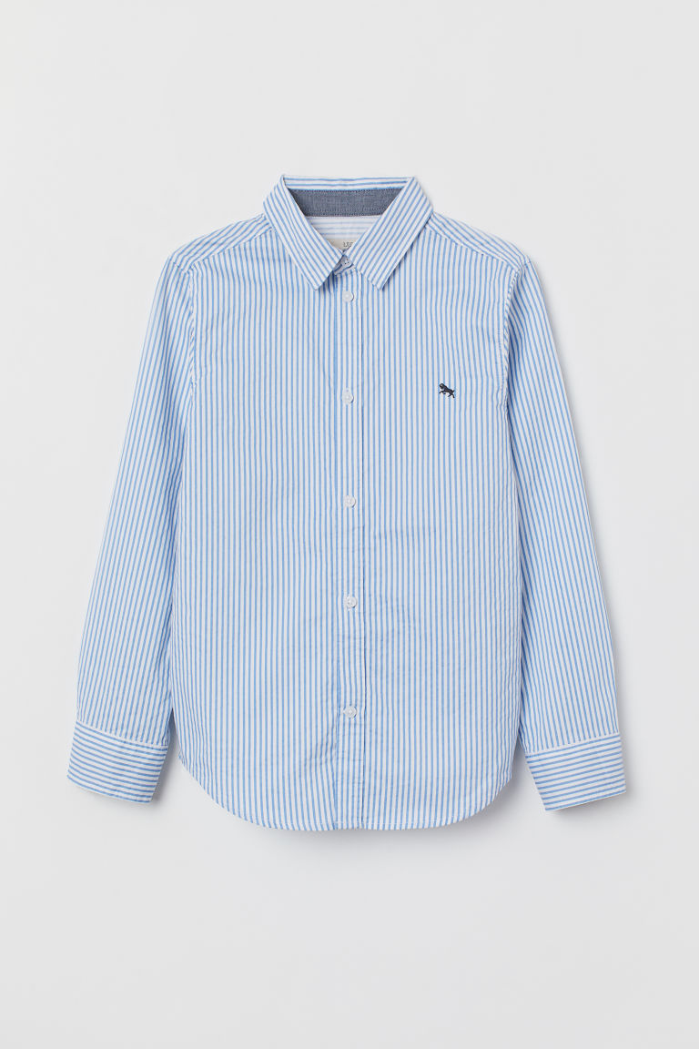 Cotton shirt - White/Blue striped - Kids | H&M