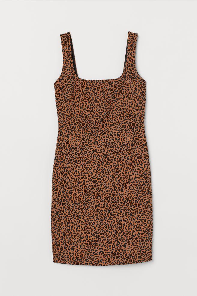 d325ac549b11 Šaty bodycon - Tmavě béžová leopardí potisk - ŽENY