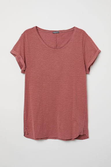 Slub jersey T-shirt - Light red - Men | H&M