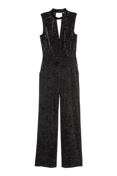 Velour jumpsuit - Black -  | H&M
