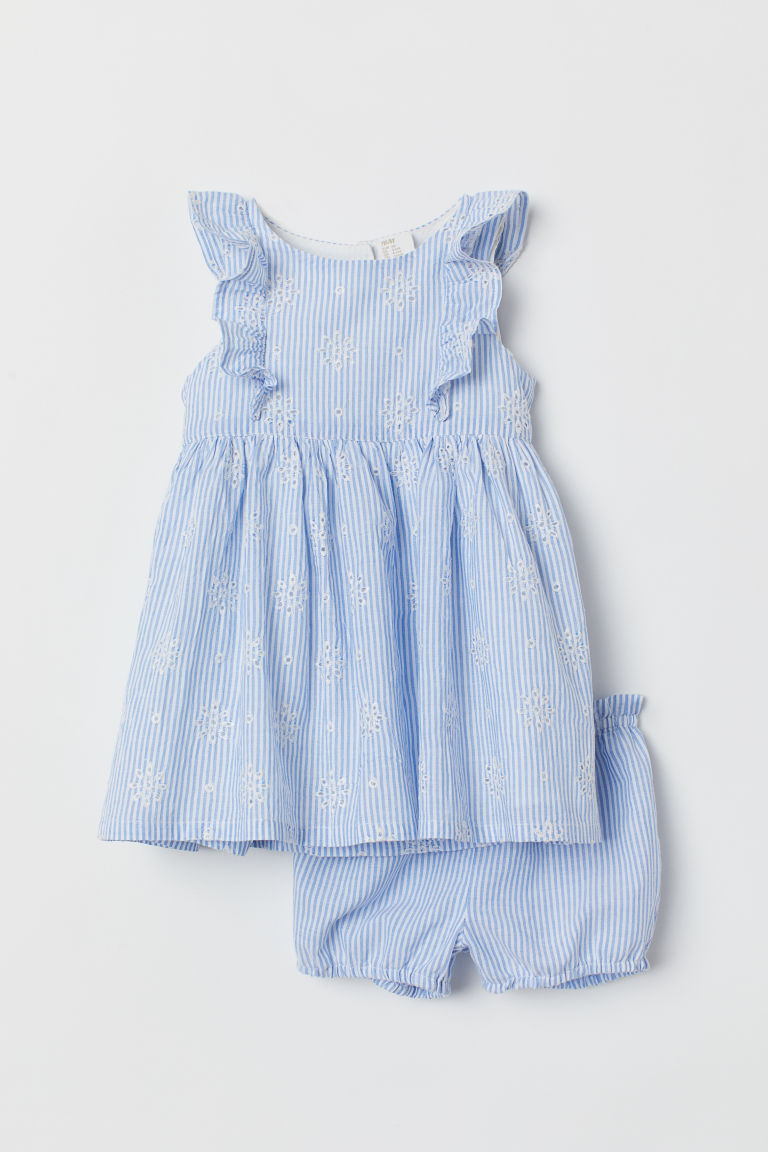 Dress and puff pants - White/Blue striped - Kids | H&M