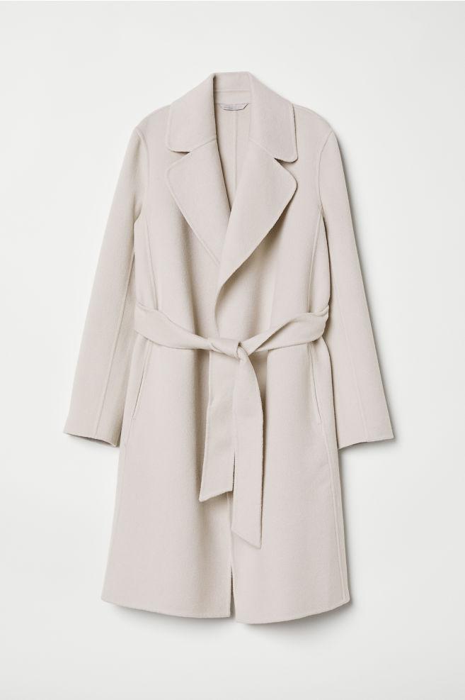 Abrigo en mezcla de lana - Beige claro - MUJER  7260634c9e0d