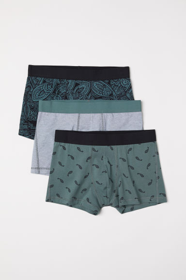 3-pack short trunks - Green/Paisley-patterned - Men | H&M