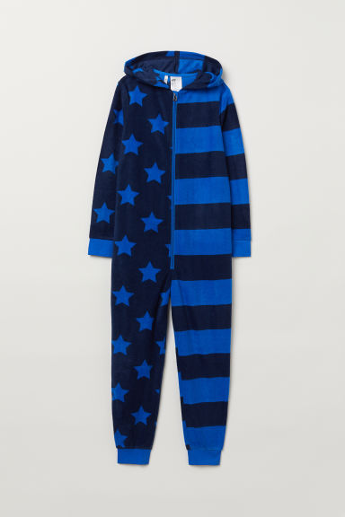 Fleece all-in-one suit - Blue/Patterned - Kids | H&M CN