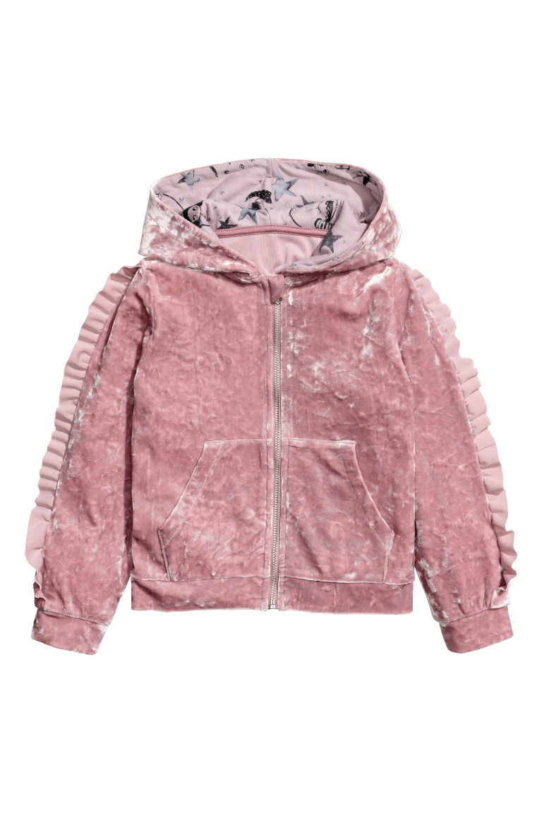 Crushed velvet hooded jacket - Vintage pink - Kids | H&M CN