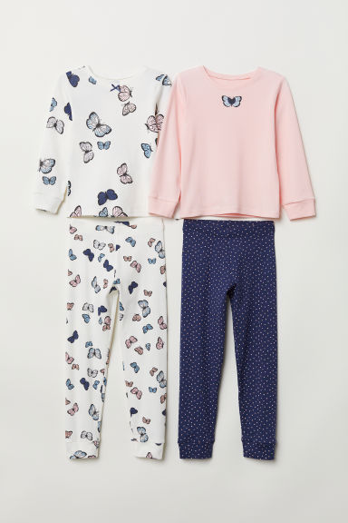 2-pack jersey pyjamas - Powder pink/Butterflies - Kids | H&M