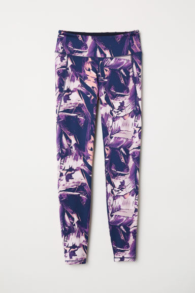 Sports tights - Dark blue/Purple patterned - Ladies | H&M IE