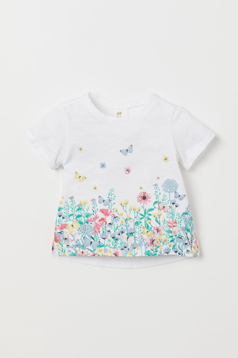 Patterned T-shirt - White/Butterflies - Kids | H&M