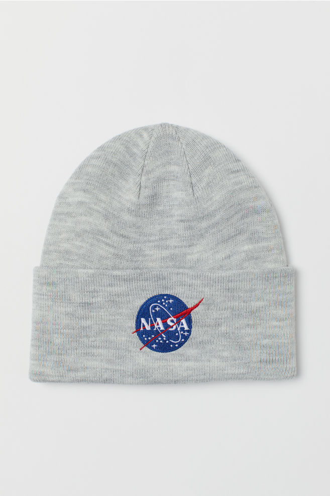54e9eb29e99834 Fine-knit hat - Light grey marl/NASA - Men | H&M ...