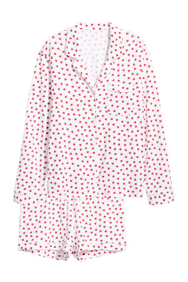 Pyjama shirt and shorts - White/Hearts - Ladies | H&M