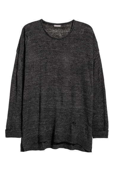 Trashed jumper - Dark grey marl - Men | H&M
