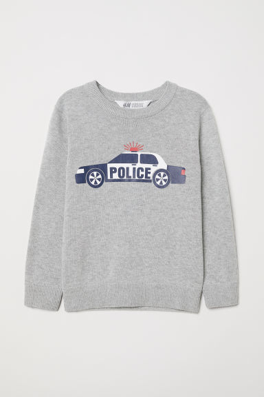 Fine-knit jumper - Light grey/Police car - Kids | H&M