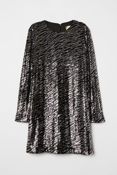 Sequined dress - Black/Silver-coloured - Ladies | H&M