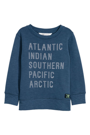 Printed sweatshirt - Dark blue/Atlantic -  | H&M