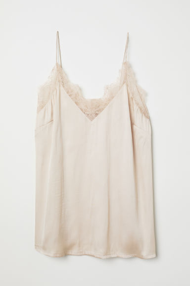 Satin strappy top with lace - Light beige - Ladies | H&M CN