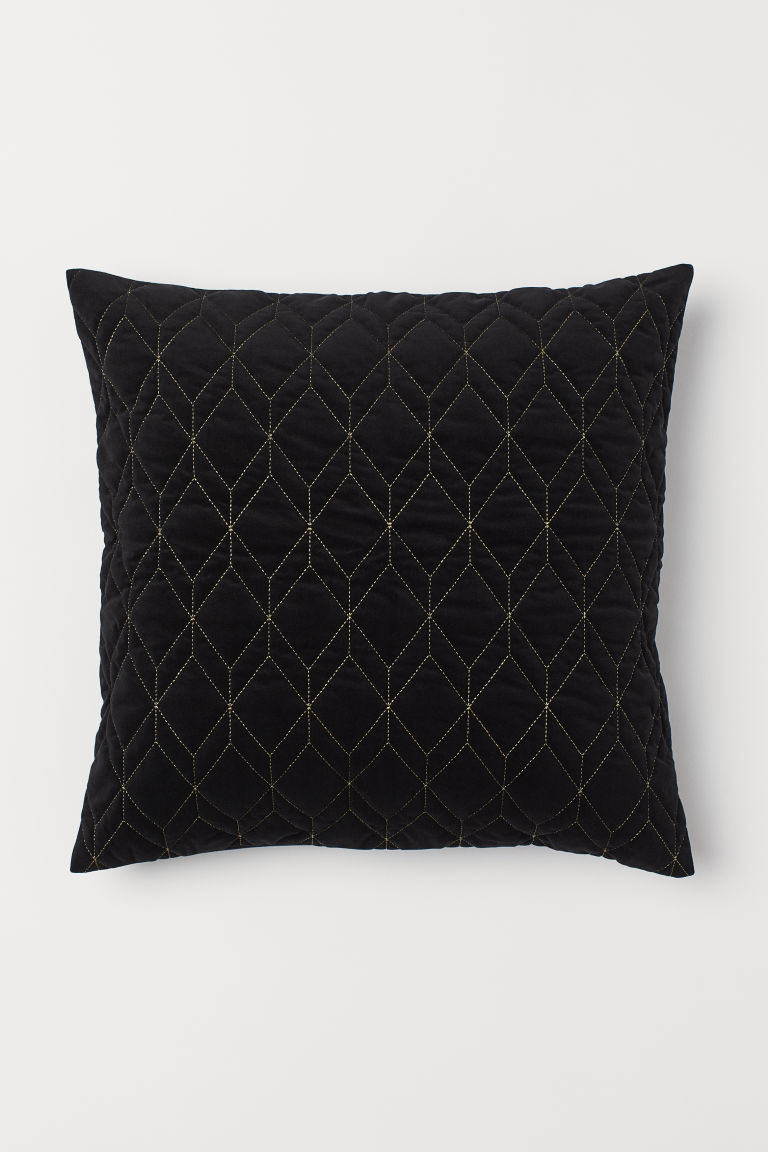 Quilted Velour Cushion Cover - Black/gold-colored - Home All | H&M US