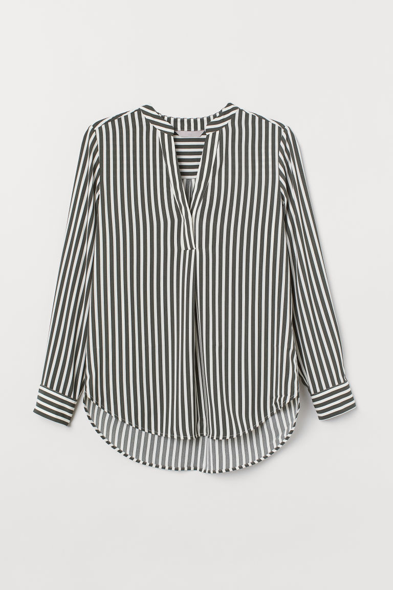Crêped Blouse - Dark green/white striped - Ladies | H&M US