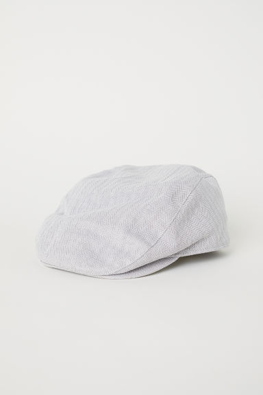 Flat cap - Light grey/Herringbone pattern - Men | H&M