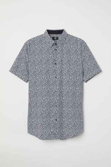 Cotton Shirt Muscle Fit - Dark blue/Floral - Men | H&M