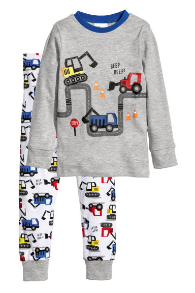 Jersey pyjamas - Light grey/Digger - Kids | H&M CN
