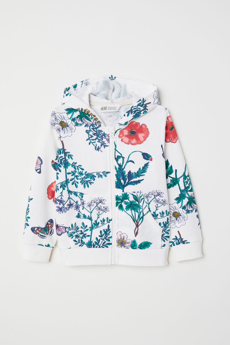 Printed hooded jacket - White/Floral - Kids | H&M