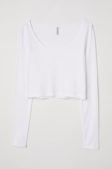 Ribbed top - White -  | H&M CN